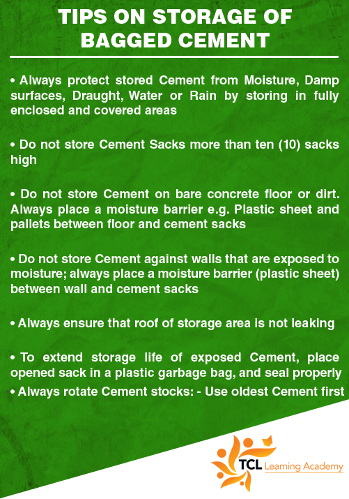 Tips on Storage of Bagged Cement - TCL